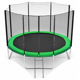 "Батут ""Happy Jump"" (12ft) PRO с внешней сеткой и лестницей. Диаметр - 374 см. Нагрузка - 180 кг."