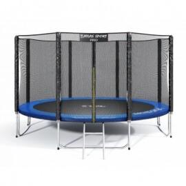 """Батут """"Atlas Sport"""" (12ft) PRO BLUE с внешней сеткой и лестницей(усиленные опоры). Диаметр - 374 см. Нагрузка - 150 кг."""